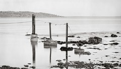 Waiting for boats (Geir Bakken) Tags: largeformat film filmisnotdead expired expiredfilm vintagecamera vintage 4x5 4x5camera 4x5film kodakplusxpan kodakplusx analog analogphotography sea reflection blackandwhite bw