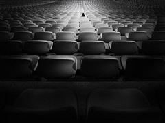 ...thewait... (*ines_maria) Tags: stadium seat chair pattern rows sport stands terrace weatheredandworn wornout lonely loneliness person woman blackandwhite bw monochrome panasonicdcgh5 gh5 panasonic