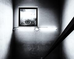 Deformed (basketnick) Tags: staircase window eye selfportrait walls lights clouds motionsensor handrail blackwhite industrialarea berlin shadows surreal dark moody