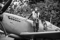 Waiting... (aljones27) Tags: bw monochrome blackandwhite northweald timelineevents hanger11 history reenactors airfield aeroplane spitfire jeep