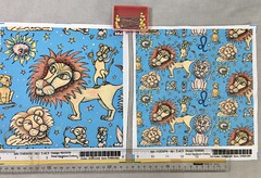"""""""Leo the Lion Zodiac Astrology Sun Sign"""", large and small scale fabric test swatches. My original artwork created with pencil, pen and colored pencils. (sassyone2013) Tags: leo sunsigns astrology occult leothelion whimsical lion lions cat cats illustration drawing fabric textiles textile sewing quilting sew blue bigcats astrologicalsigns textiledesign surfacedesign patterndesign fabrics cute sun quiltingfabrics patternillustration patterndesigners amygale spoonflower"""