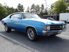 1971 Chevrolet Chevelle, Front (RadialSkid) Tags: 1971 chevrolet chevy chevelle ss 1970s muscle car musclecar custom blue white stripes front