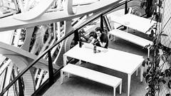 Lunch Break at Amazon HQ, Seattle Washington (ext237) Tags: amazon amazonsphere bw blackandwhite design interiordesign seattle seattlewashington style table architecture black blackwhite building furniture monochrome monochromephotography white