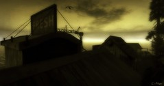Rooftops (Loegan Magic) Tags: secondlife rooftop sign sky sunset sunrise sun clouds siloutte tree seaside landscape