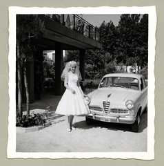 "Alfa Romeo Giulietta (Vintage Cars & People) Tags: vintage classic black white ""blackwhite"" sw photo foto photography automobile car cars motor alfa romeo giulietta alfaromeogiulietta alfagiulietta berlina vehicle antique auto 1950s 50s fifties bride dress veil wedding"
