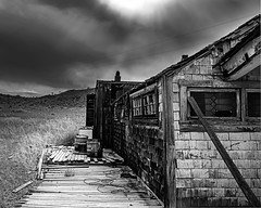 02469376423035-117-19-10-Gold Point Ghost Town-2-Black and White (Don't Mess With Jim) Tags: 2019 america fujifilmxt30 fujifilmxf1855mmlens goldpoint miningtown nevada october usa autumn clouds cloudy desert fall ghosttown