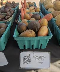 Roasting Roots (yooperann) Tags: farmers market downtown marquette upper peninsula michigan beets potatoes carrots basket marketing selling label sign full plate farm