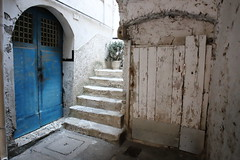I would like to stay there (sandrorotonaria) Tags: minturno blue white wall door italia yard wood scale old mood town fall