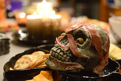 A snack for every body (radargeek) Tags: halloween oklahoma yukon skeleton skull snacks candles olive meat crackers