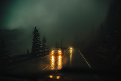The Loneliest Road... (miss.interpretations) Tags: darkness road fog mist solitude alone mountains ominous presence depth evening storm travel wetroads pavement street journeyoflife journey life driving passenger driver passing growth leftbehind goingforward chapters bookoflife stories rachelbrokawphotography castlerockphotographer coloradophotographer coloradomountains moody atmosphere headlights cars rain