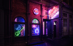 Let There Be Neon (onefivefour) Tags: night nyc dark neon lights sign clock hanger guitar moon tv tribeca closed shirt glow