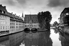 Old Town Nuremberg, Germany (Dennis Reyes Photography) Tags: landscape travel bridge river cityscape hospital nuremberg germany europe nurnberg wide angle photography tokina nikon d3 black white old ruins castle medieval bavaria bavarian streams water brick buildings rhine danube blackandwhite wideangle baroque gothic abbey