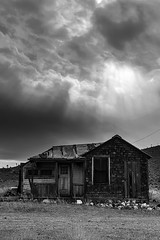 02469376423039-117-19-10-Gold Point Ghost Town-6-Black and White (Don't Mess With Jim) Tags: 2019 america fujifilmxt30 fujifilmxf1855mmlens goldpoint miningtown nevada october usa autumn clouds cloudy desert fall ghosttown monochrome blackandwhite