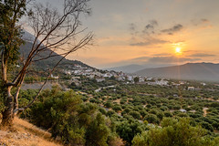 """Up the hill looking at the beautiful Village called """"Kavousi"""", Crete, Greece (Milad DG) Tags: blue crete greece island europe sunset sundown goldenhour godenlight nikonz6 nikkor20mm olives olivefield"""