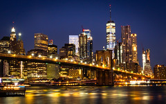 Lower Manhattan (Mark Lindstrom) Tags: travel nightscene microfourthirds wtc longexposure lights skyline cityscape bluehour eastriver bridge brooklyn manhattan newyork