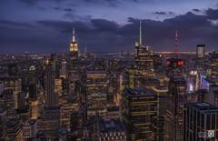 Made  in New York (Sky line Manhattan) (JoseQ.) Tags: newyork skyline nocturna luces night ciudad horaazul bluehour contruccion edificios sony alpha7 viaje altura estadosunidos rockefellercenter topofderock manhattan empire state
