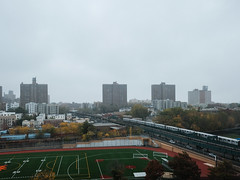 Rainy morning in the Bronx (Zach K) Tags: bronx ny rainy misty foggy fall autumn train elevated el irt 2 5 trains hub thehub football field athletic skyline landscape urban fujifilm xpr2 xf18mm nyctransit subway elevatedsubway