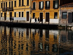 Reflections from the Venezian Ghetto (Professor Bop) Tags: professorbop drjazz olympusem1 venice venezia ghetto venezianghetto buildings structures reflections people pedestrians color ochre 2019 mosca canal
