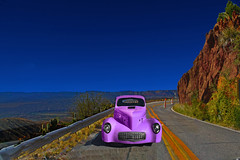 She'll Be Coming 'Round the Mountain (oybay©) Tags: jerome arizona car automobile color colors colorful pink green 1941 willys coupe chrome vehicles vintage wheels grass wheel