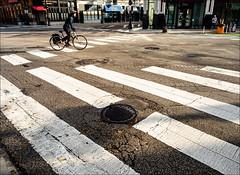 Crosswalks and Cyclist (Kurt Kramer) Tags: wickerpark stripes crosswalk crosswalks street cyclist bicycle graphic damenavenue damenave milwaukeeavenue milwaukeeave morning strassenfotografie
