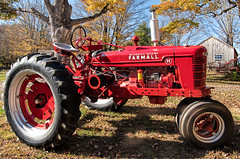 The Farmall in its element (Bob Gundersen) Tags: bobgundersen gundersen robertgundersen nikon nikoncamera guilford connecticut conn ct newengland connecticutscenes country usa green shoreline interesting image photo picture places park people scenes shots tree foliage fall old historical flickr outside leaf d850 nikond850 leaves outdoor exterior dudleyfarm tractor mccormickdeering farmall ©bobgundersen