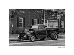Poughkeepsie Post-Office Pickup (* Gemini-6 * (on&off)) Tags: monochrome blackandwhite framed window truck vehicle transportation chrome reflection chevy ratrod diagonal