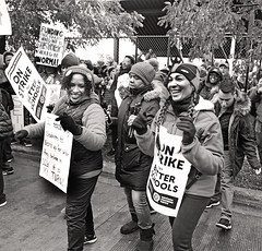Strike Dancers (kirstiecat) Tags: strike teachers teachersstrike ctu chicagoteachersunion dance protest rally signs liberal education publiceducation tifs tiffunds taxes politics chicago america monochrome blackandwhite noiretblanc negroyblanco