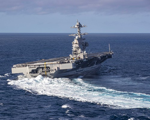 USS Gerald R. Ford conducts high-speed turns