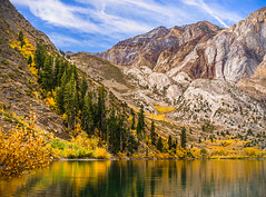 """Autumn Reflections"" Convict Lake, California (Cathy Lorraine) Tags: mountains lake easternsierras convictlake autumn fall golden leaves foliage aspens trees reflections sunshine clouds sky outdoors nature beauty october coth5 sunrays5"