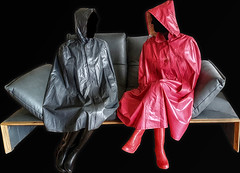 Kleppercouch (kleppertomanie) Tags: klepper cape raincape regencape raincoat rainwear mack boots wellies hood