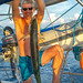 Wahoo trolling ocean fishing from sailing yacht. Thailand