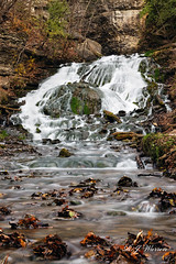 Dunning's Spring Waterfall (Aria (RJWarren)) Tags: waterfall water spring autumn fall nature landscape midwest iowa decorah beautiful colorful canont3i tamron16300mm longexposure moving flowing leaves brown tan white majestic