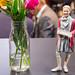 Doob lebensecht Figuren - Mädchenfigur neben einer Vase Blumen