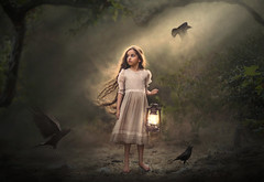 Light My Way ({jessica drossin}) Tags: jessicadrossin face raven crow dark halloween child kid girl hair long wind blowing story fairytale lantern light wwwjessicadrossincom