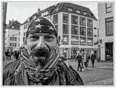 LIFE FREE (NorbertPeter) Tags: düsseldorf germany street people man spontaneous panasonic lx100ii homeless poverty portrait outdoor beard city urban streetphotography streetportrait monochrome blackandwhite bw