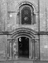 NORMAN DOOR, SOUTHWELL MINSTER, NOTTS_DSC_7944_LR_2.5 (Roger Perriss) Tags: minster church southwell d750 norman door window normandoor doorsurround blackandwhite mono monochrome ornament chevron edging