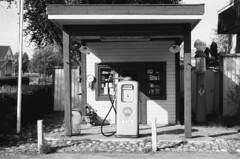 Old petrol station (hjnship) Tags: analog ilfordpanf panf kodakretinette1b 135film 35mmfilm 45mmlens rodenstockreomar vintage retro petrolstation gasstation gasoline sollebrunn retrovägen shell