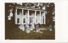 Instax Spooky House left (Neal3K) Tags: instax halloween hauntedhouse spooky ghosts skeletons abandoned