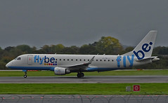 G-FBJJ Embraer 175 of Flybe (SteveDHall) Tags: aircraft airport aviation airfield aerodrome aeroplane airplane airliner airliners man mcr egcc 2019 manchester manchesterairport ringway embraer e175 embraer175 be bee flybe gfbjj