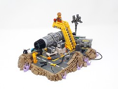 Repair Yard (Inthert) Tags: lego space cargo engine greeble cat moc vignette hanger scene ladder steps