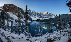 Moraine Lake (Antoni Figueras) Tags: morainelake frozen reflections alberta canada banffnationalpark mountains rockies lake snow outdoors nopeople trees antonifigueras panorama sonya7riii sony1635f4