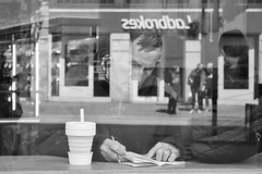 Reflecting on the odds.... (markwilkins64) Tags: reflection streetphotography street candid streetreflections blackandwhite bw monochrome mono cafe bookmakers ladbrokes bettingshop markwilkins