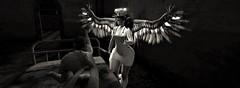 Merciful nurse (gargantuela) Tags: gargantuela spookzillahunt cinnamoncocaine wings nurse patient asylum hospital halo knife medicalstethoscope nursehat whiteuniform glasses bw halloween jessposes sl secondlife virtual virtuallife avatar senseevent