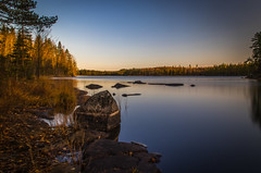 Morning light (mabuli90) Tags: finland lake water rock tree forest sky morning dawn nature landscape autumn fall
