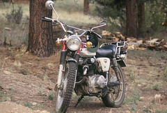 CL350 (HOOVER14) Tags: 1972 honda cl 175 motorcycle wet mountans colorado minolta srt 101 film camera kodak color slide scanned bacwards