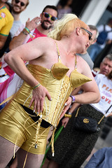 Brighton Pride 2019 (Sean Sweeney, UK) Tags: brighton pride candid candids parade people street gay lgbt pride2019 brightonpride nikon d750 dslr 2019 community england uk sussex madonna yellow camp fishnet fishnets shorts