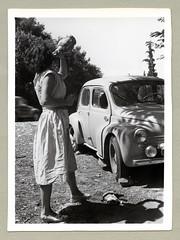 "Renault 4 CV (Vintage Cars & People) Tags: vintage classic black white ""blackwhite"" sw photo foto photography automobile car cars motor lady woman girl fashion 1950s 50s fifties renault 4cv renault4cv quatrechevaux chiani wine wicker bottle wickerencased dress summer summertime holiday holidays vacances ferien urlaub"