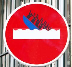 By Clet [Paris 11e] (biphop) Tags: europe france paris streetart fake roadsign clet abraham