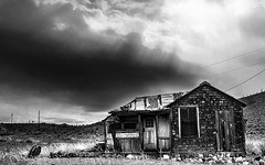 02469376423037-117-19-10-Gold Point Ghost Town-4-Black and White (Don't Mess With Jim) Tags: 2019 america fujifilmxt30 fujifilmxf1855mmlens goldpoint miningtown nevada october usa autumn clouds cloudy desert fall ghosttown monochrome blackandwhite