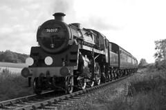 76017 - BR Class Standard  4MT (Signal Box - Railway photography) Tags: outdoor railway railroad uk monochrome steam train engine locomotive midhantsrailway hampshire autumn gala 76017 br class 4mt standard preserved